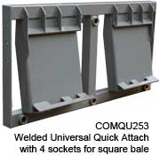 COMQU253 Welded Universal Quick Attach 4 prong bale mover